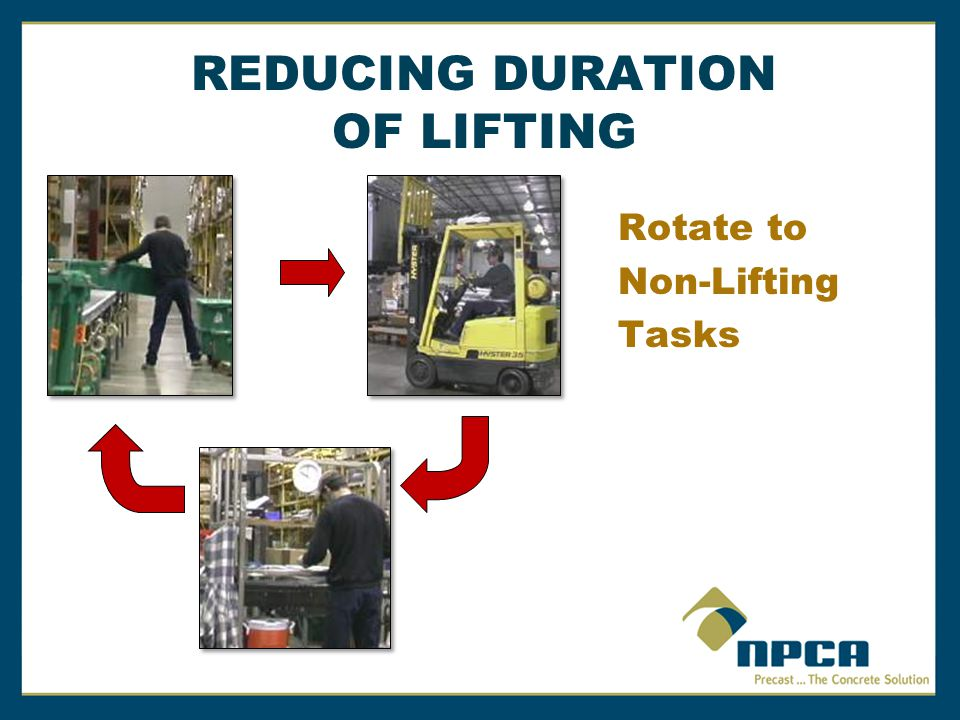 REDUCING DURATION OF LIFTING Rotate to Non-Lifting Tasks