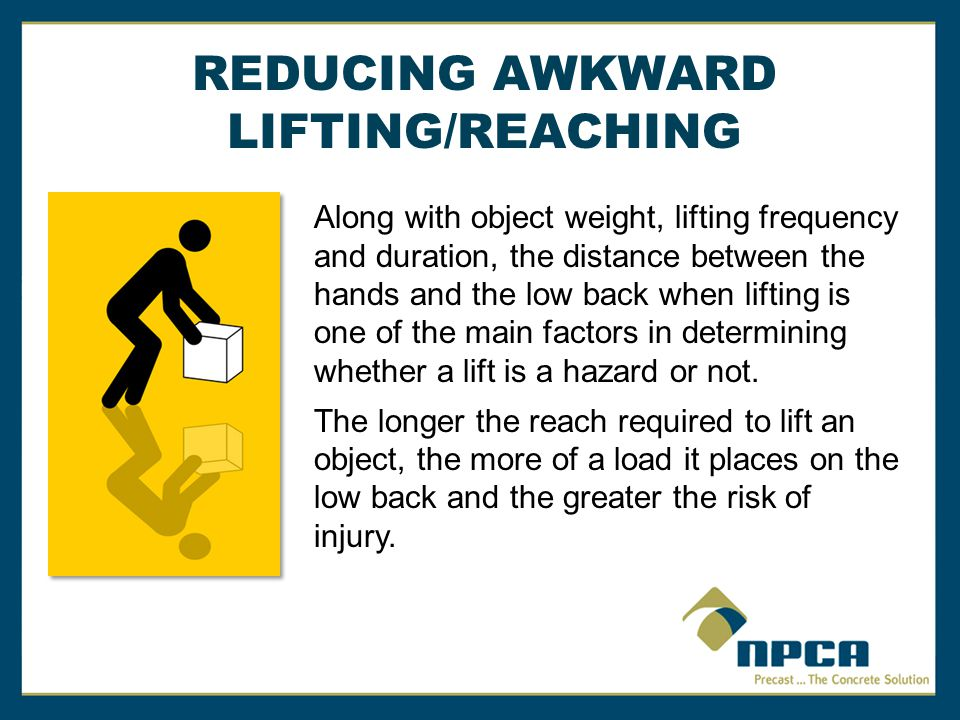 REDUCING AWKWARD LIFTING/REACHING