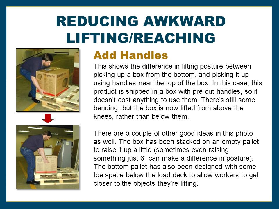 REDUCING AWKWARD LIFTING/REACHING Add Handles