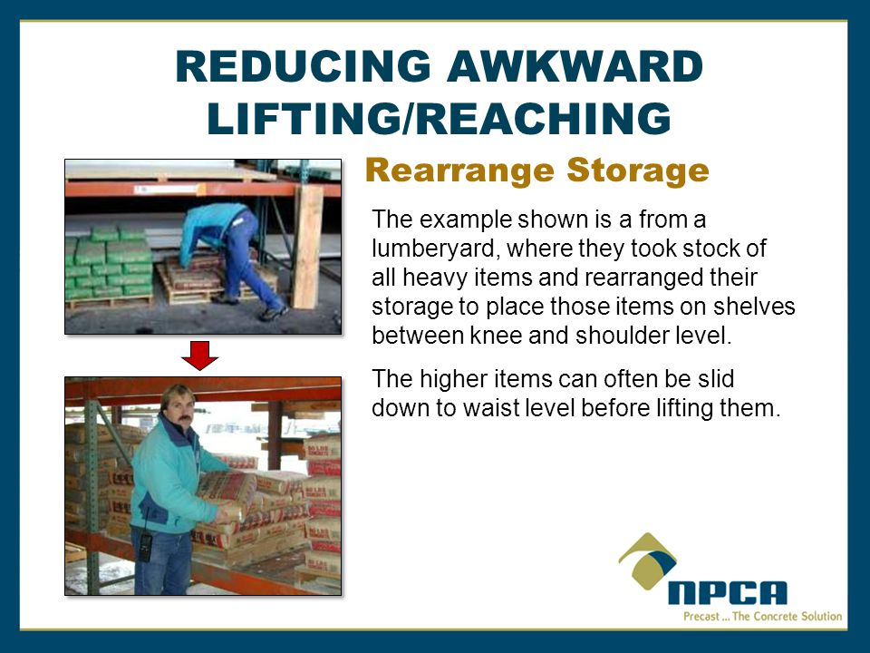 REDUCING AWKWARD LIFTING/REACHING Rearrange Storage