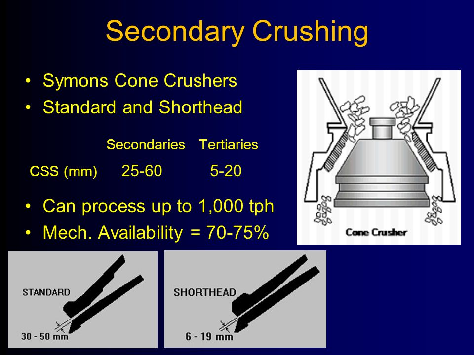Secondary Crushing Symons Cone Crushers Standard and Shorthead