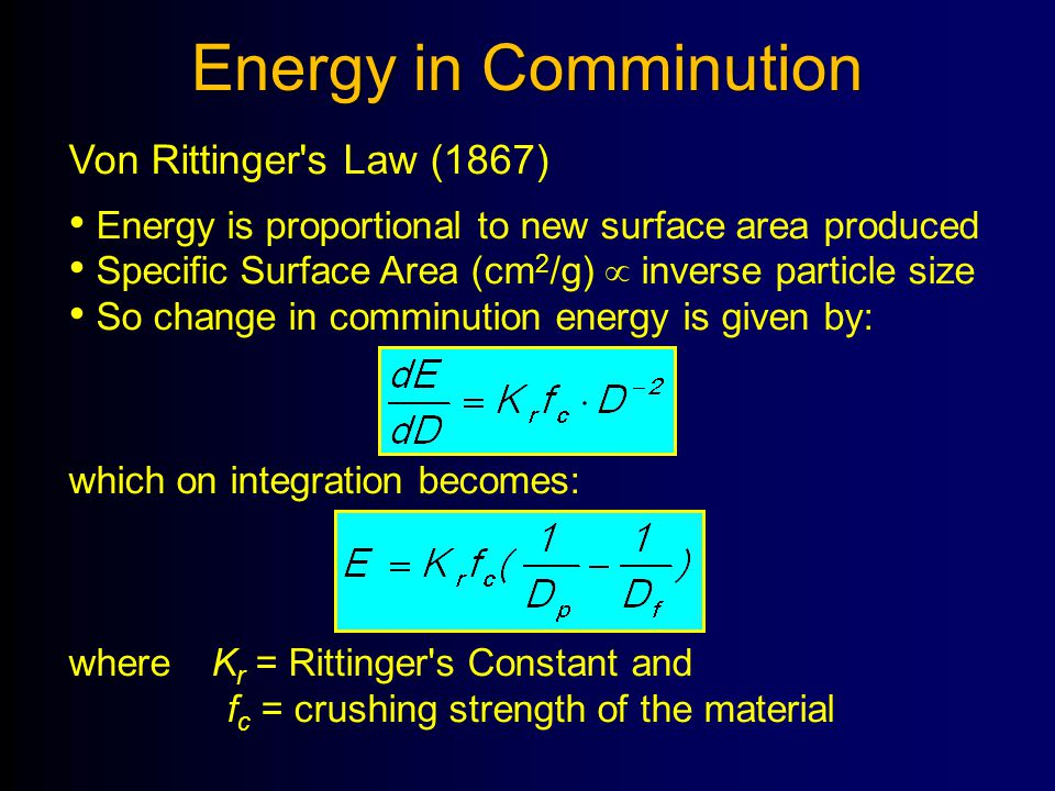 Energy in Comminution Von Rittinger s Law (1867)