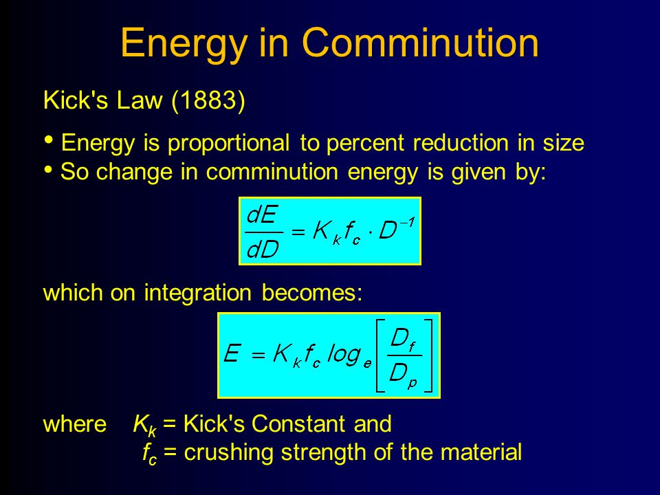 Energy in Comminution Kick s Law (1883)