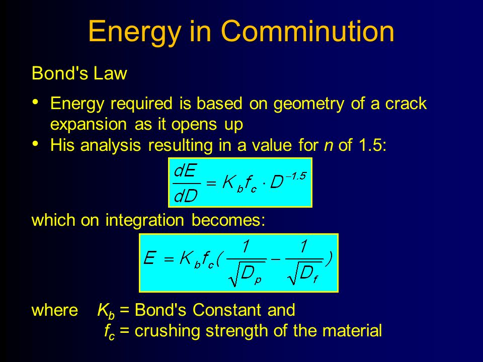 Energy in Comminution Bond s Law