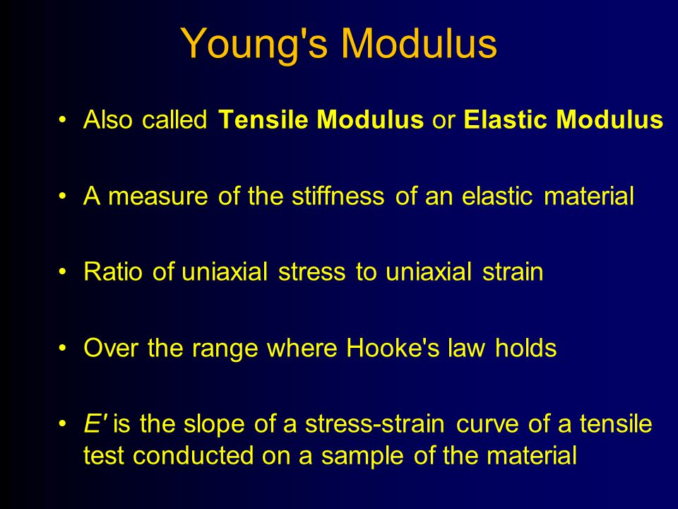 Young s Modulus Also called Tensile Modulus or Elastic Modulus