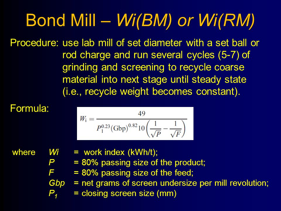 Bond Mill – Wi(BM) or Wi(RM)