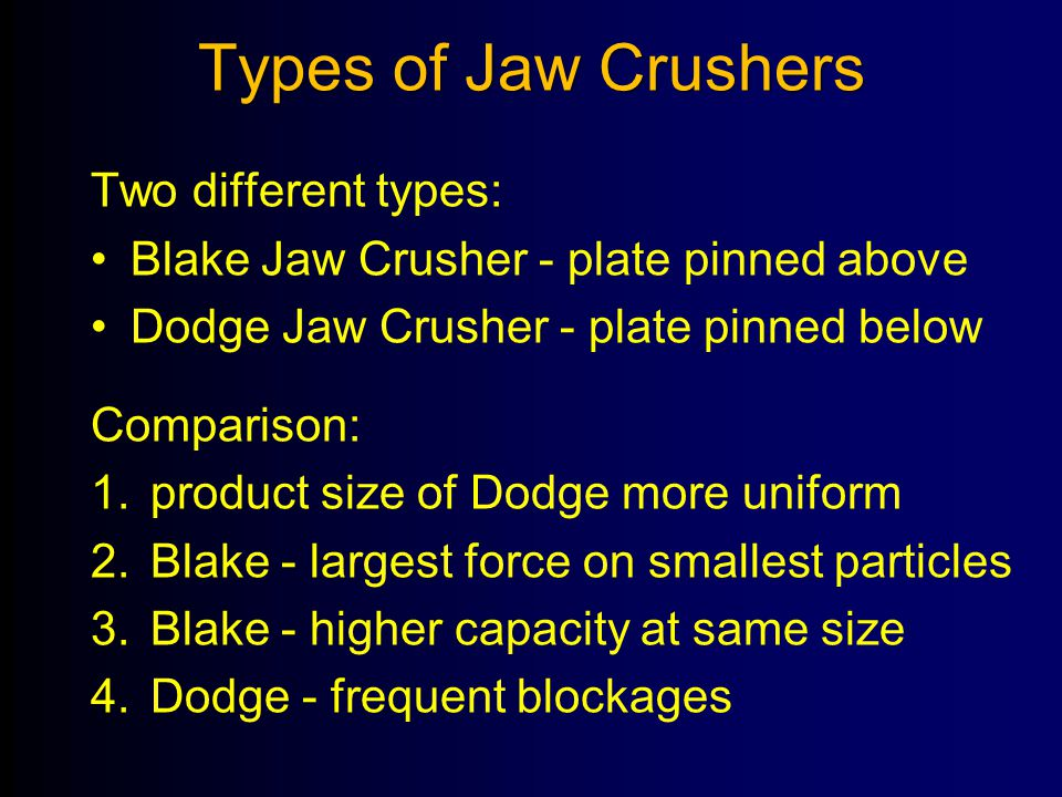 Types of Jaw Crushers Two different types:
