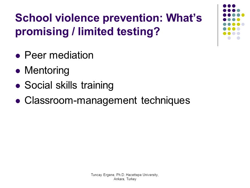 School violence prevention: What's promising / limited testing