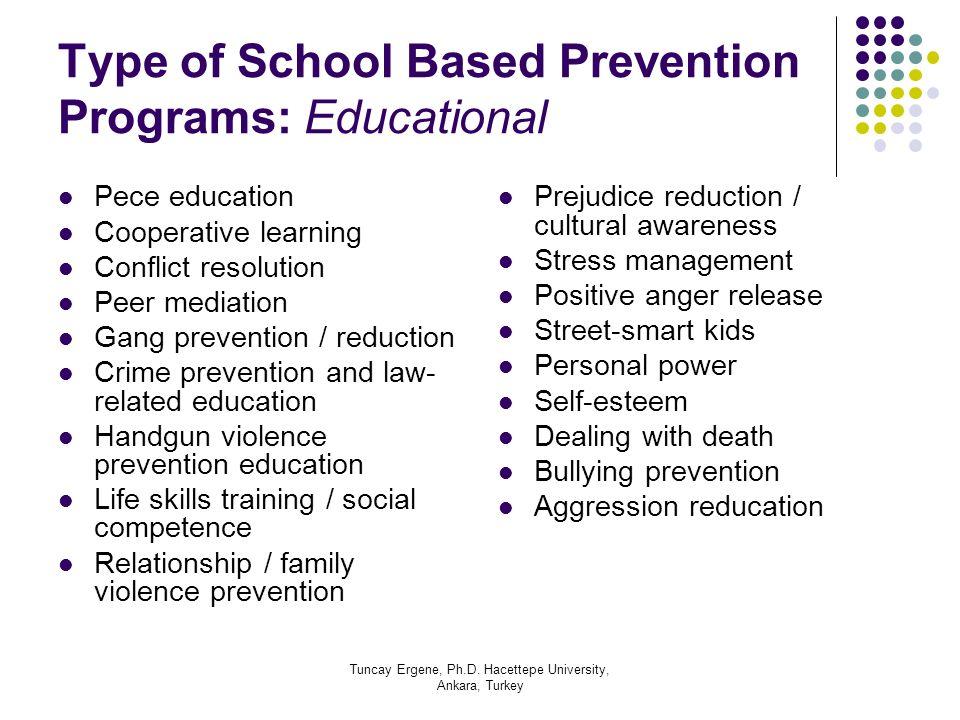 Type of School Based Prevention Programs: Educational