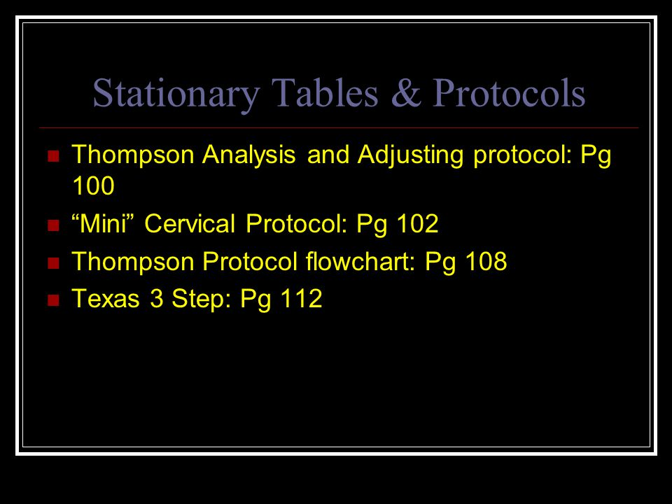 Stationary Tables & Protocols