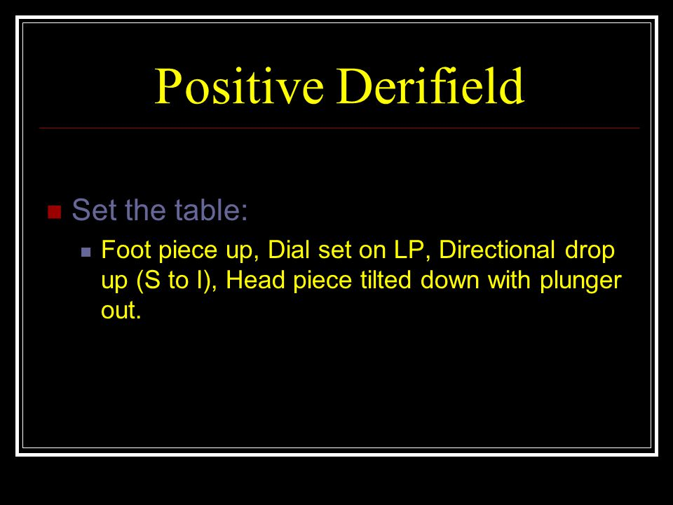 Positive Derifield Set the table: