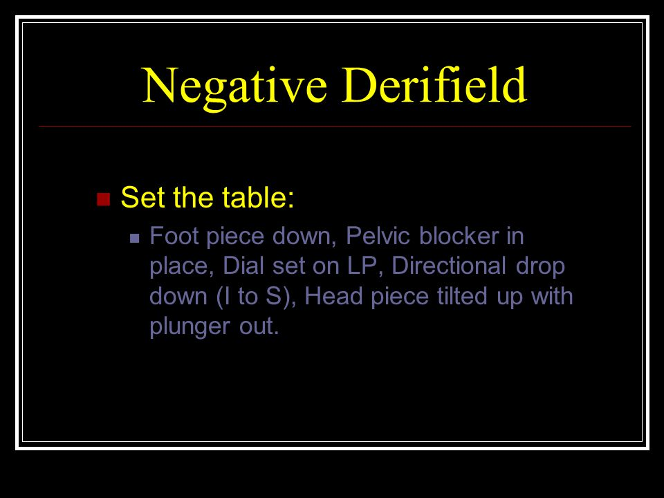 Negative Derifield Set the table: