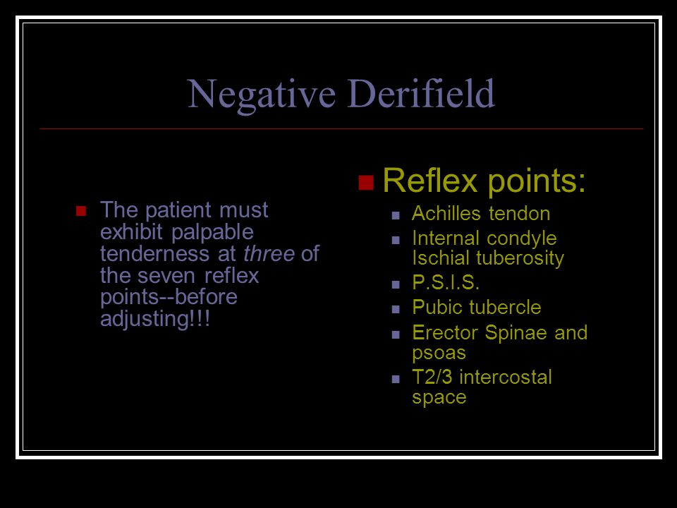 Negative Derifield Reflex points: