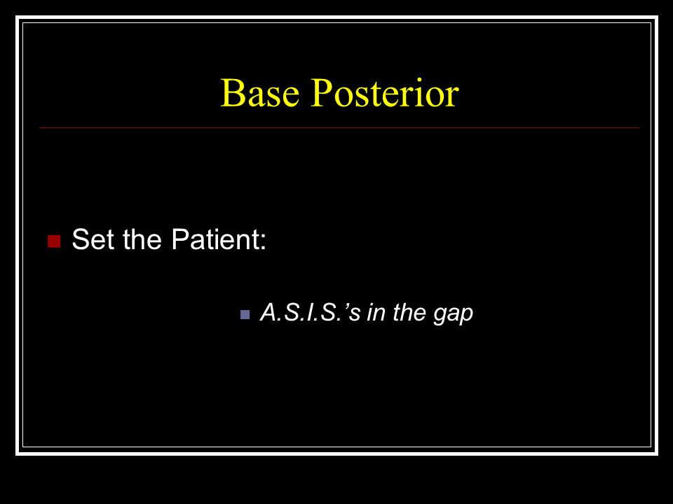 Base Posterior Set the Patient: A.S.I.S.'s in the gap