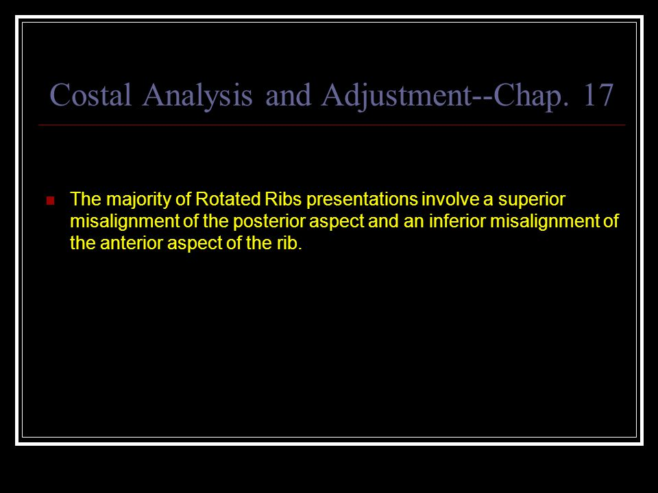 Costal Analysis and Adjustment--Chap. 17