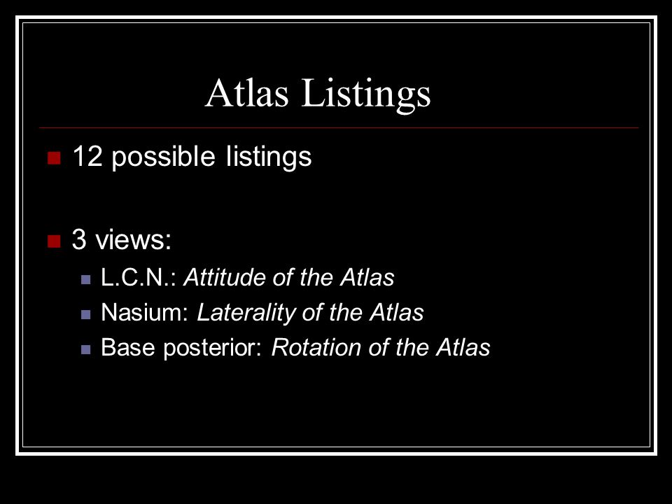 Atlas Listings 12 possible listings 3 views: