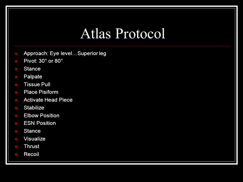 Atlas Protocol Approach: Eye level…Superior leg Pivot: 30° or 80°