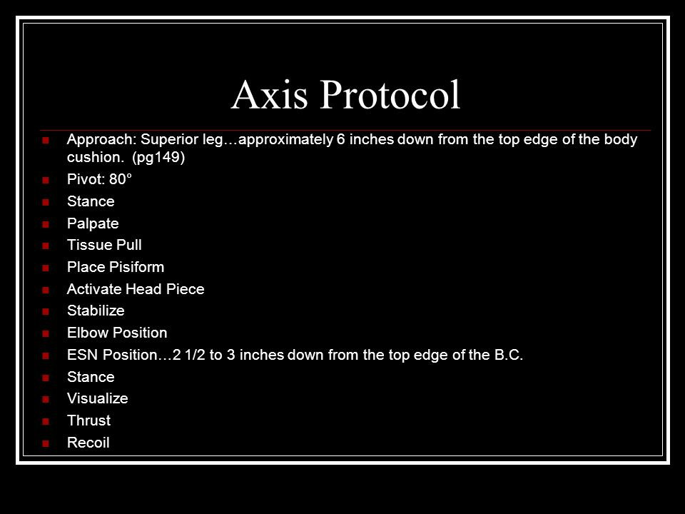 Axis Protocol Approach: Superior leg…approximately 6 inches down from the top edge of the body cushion. (pg149)