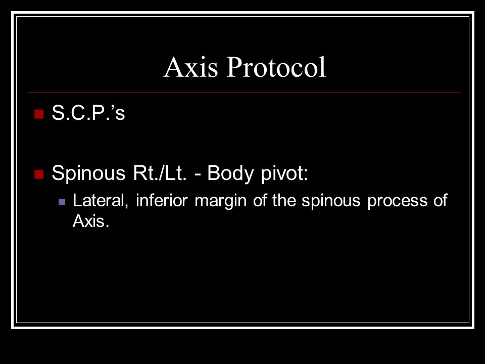 Axis Protocol S.C.P.'s Spinous Rt./Lt. - Body pivot: