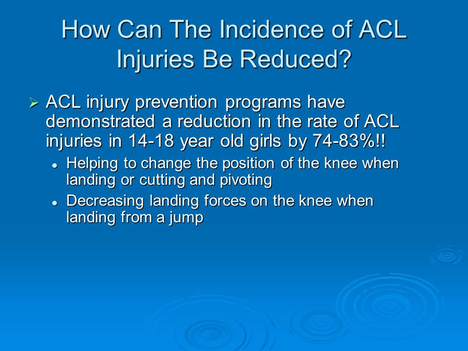 How Can The Incidence of ACL Injuries Be Reduced
