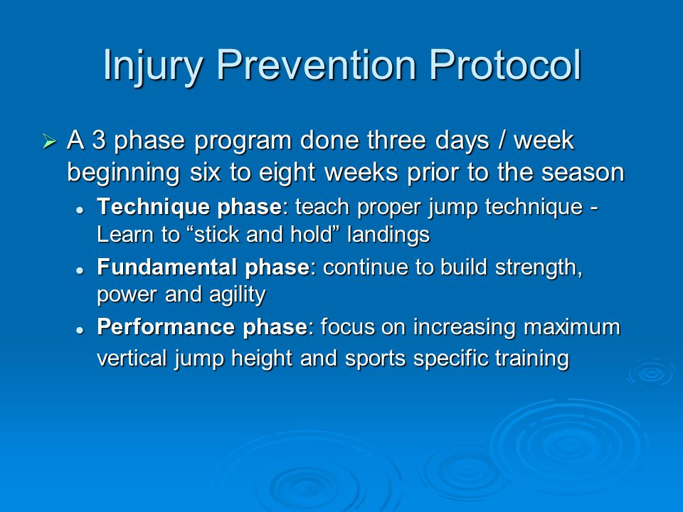 Injury Prevention Protocol