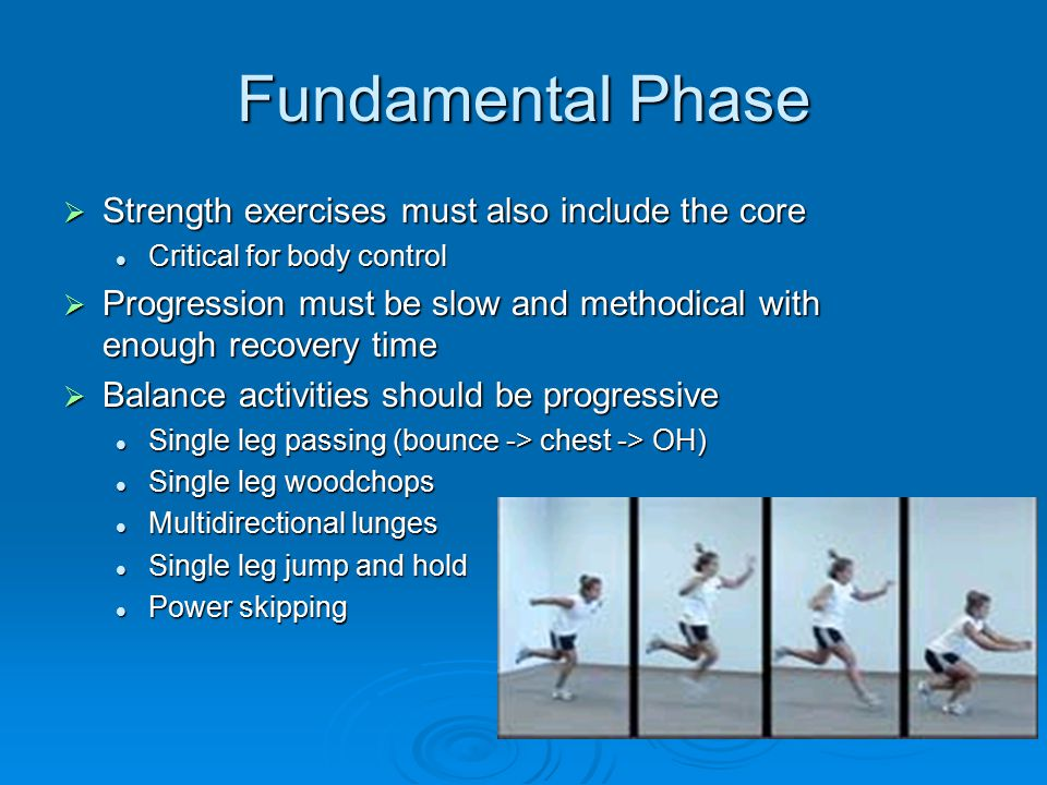 Fundamental Phase Strength exercises must also include the core