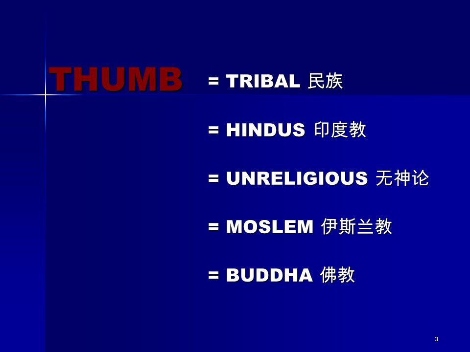 THUMB = TRIBAL 民族 = HINDUS 印度教 = UNRELIGIOUS 无神论 = MOSLEM 伊斯兰教