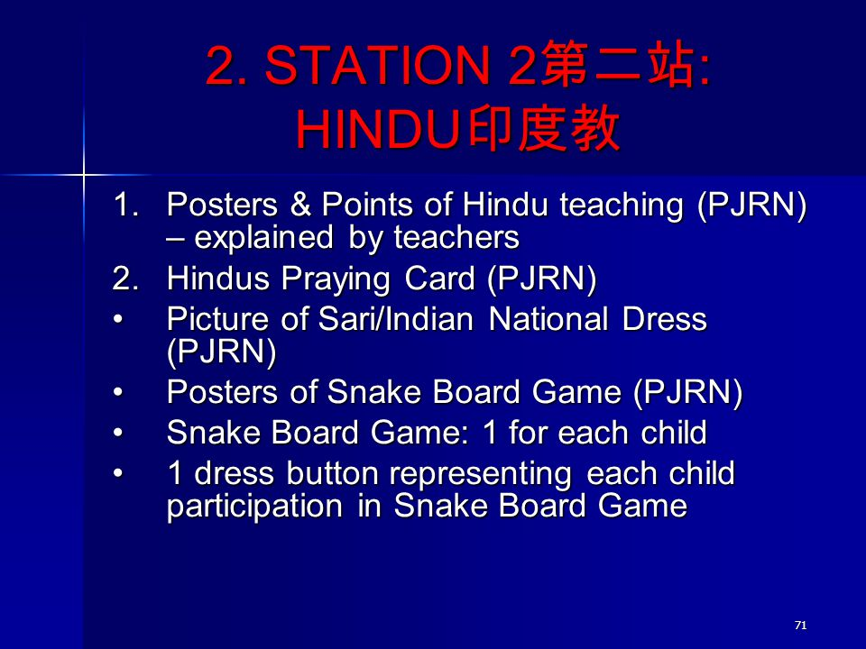 2. STATION 2第二站: HINDU印度教 Posters & Points of Hindu teaching (PJRN) – explained by teachers. Hindus Praying Card (PJRN)