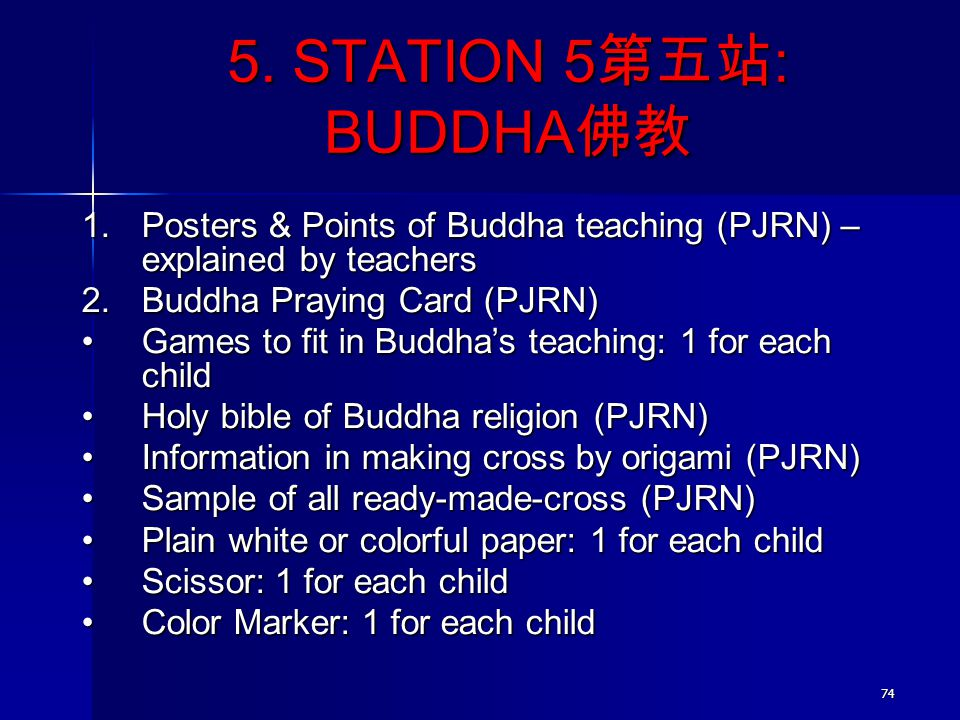 5. STATION 5第五站: BUDDHA佛教 Posters & Points of Buddha teaching (PJRN) – explained by teachers. Buddha Praying Card (PJRN)
