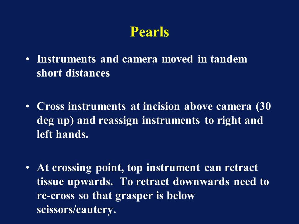 Pearls Instruments and camera moved in tandem short distances