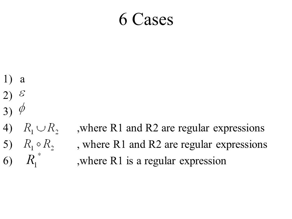 6 Cases a ,where R1 and R2 are regular expressions