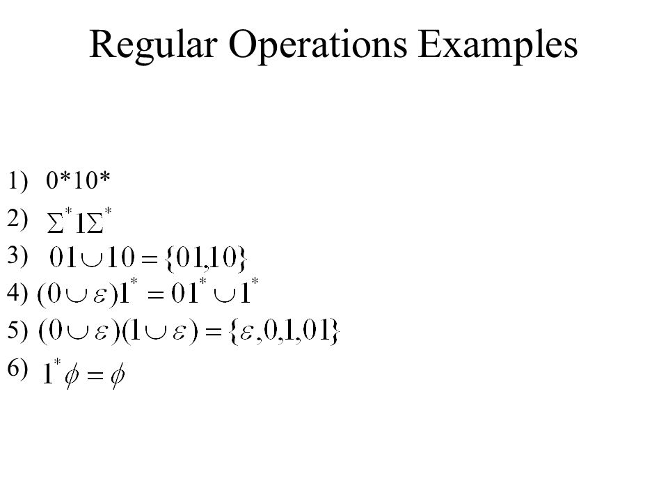 Regular Operations Examples