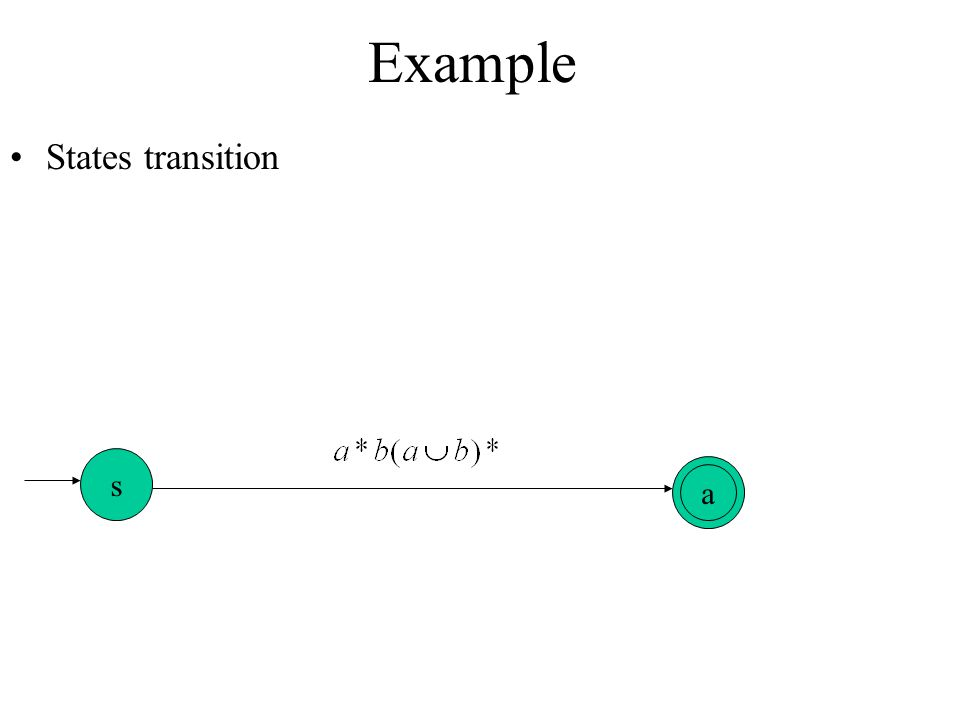 Example States transition s a