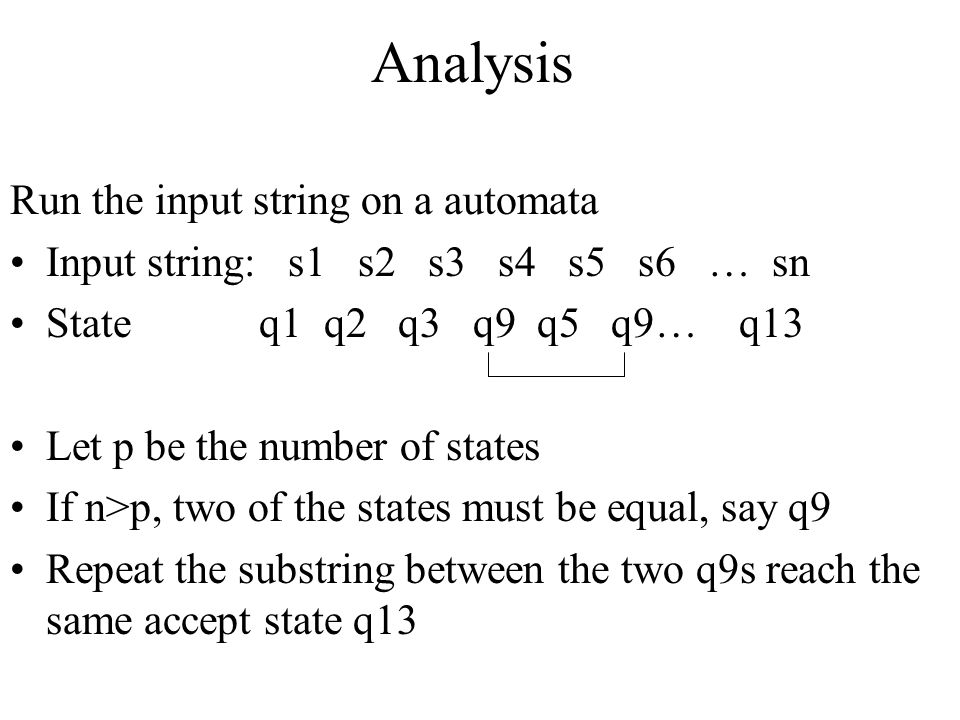 Analysis Run the input string on a automata