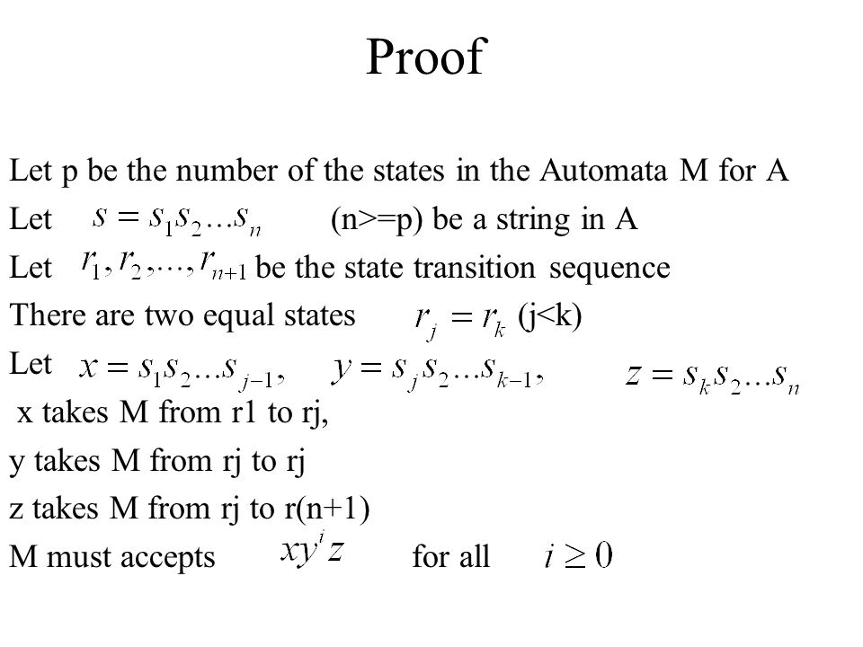 Proof Let p be the number of the states in the Automata M for A