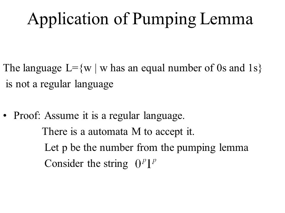 Application of Pumping Lemma