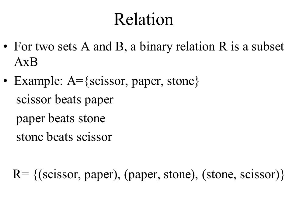 Relation For two sets A and B, a binary relation R is a subset AxB
