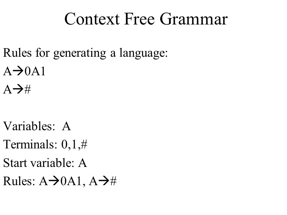 Context Free Grammar Rules for generating a language: A0A1 A#