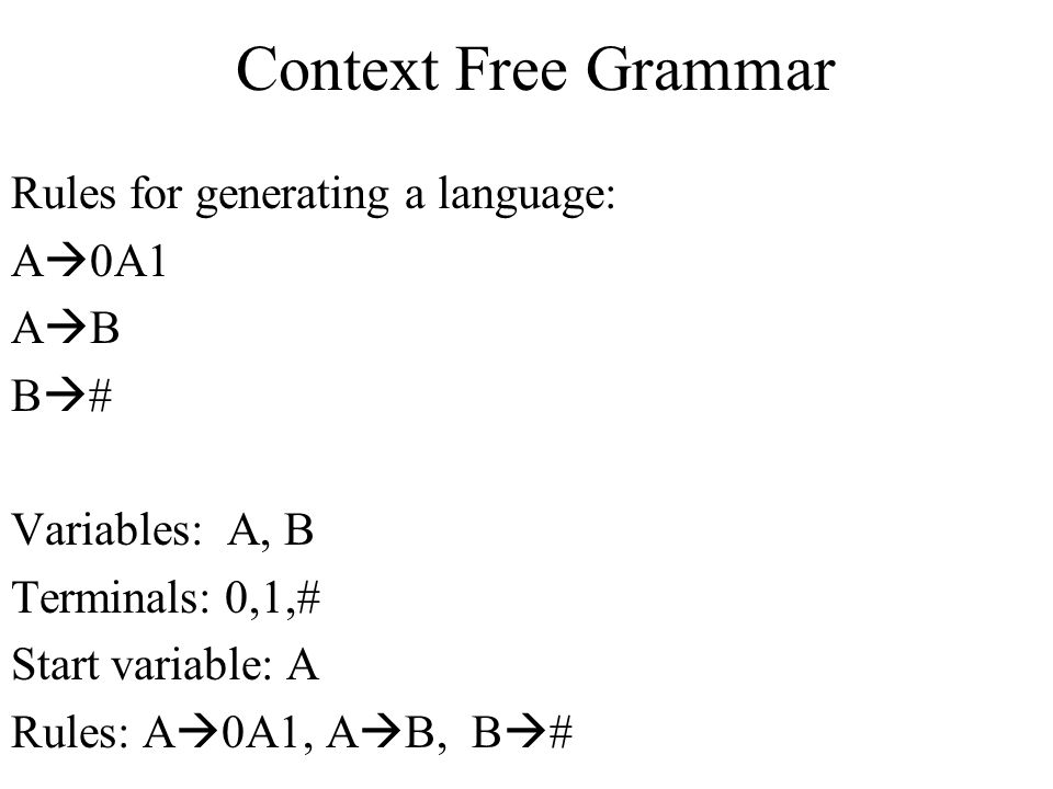 Context Free Grammar Rules for generating a language: A0A1 AB B#