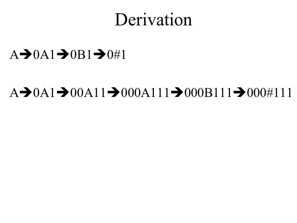 Derivation A0A10B10#1 A0A100A11000A111000B111000#111
