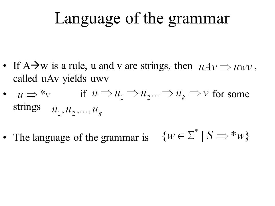 Language of the grammar