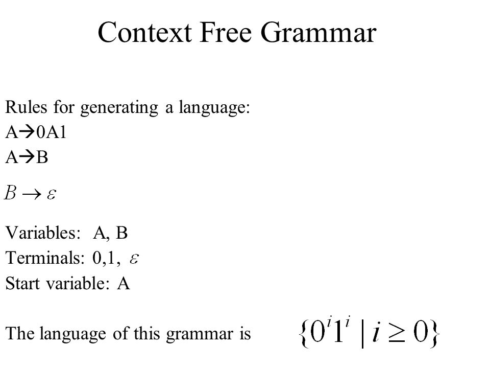 Context Free Grammar Rules for generating a language: A0A1 AB