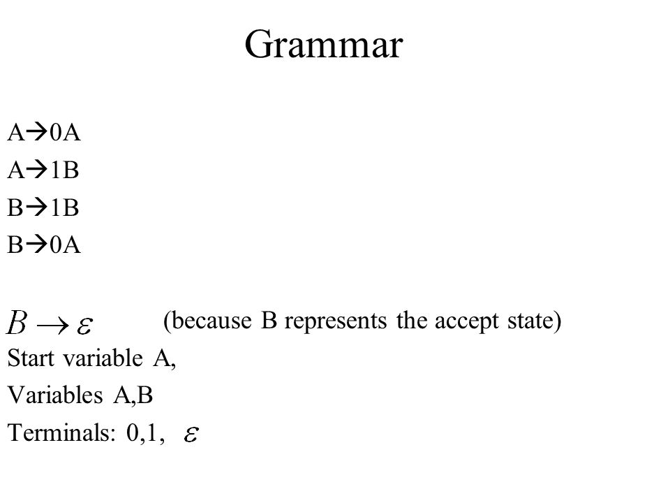 Grammar A0A A1B B1B B0A (because B represents the accept state)