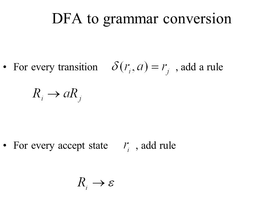 DFA to grammar conversion