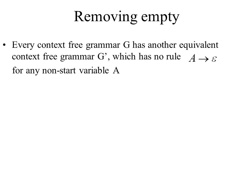 Removing empty Every context free grammar G has another equivalent context free grammar G', which has no rule.