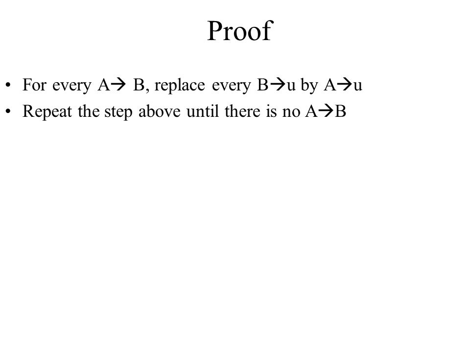 Proof For every A B, replace every Bu by Au