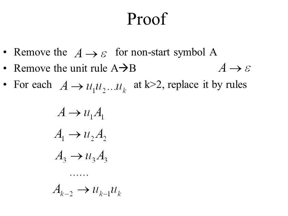 Proof Remove the for non-start symbol A Remove the unit rule AB