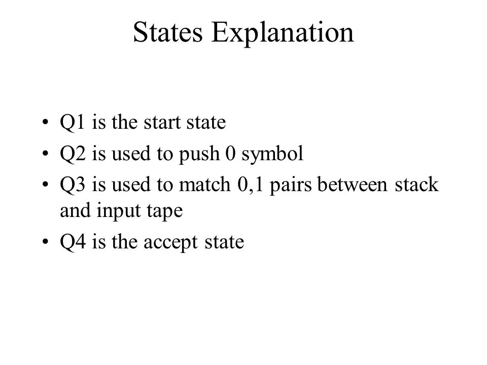 States Explanation Q1 is the start state Q2 is used to push 0 symbol