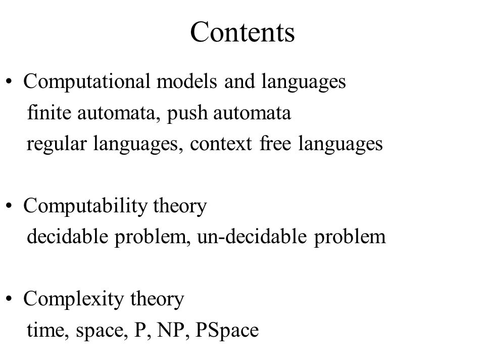 Contents Computational models and languages
