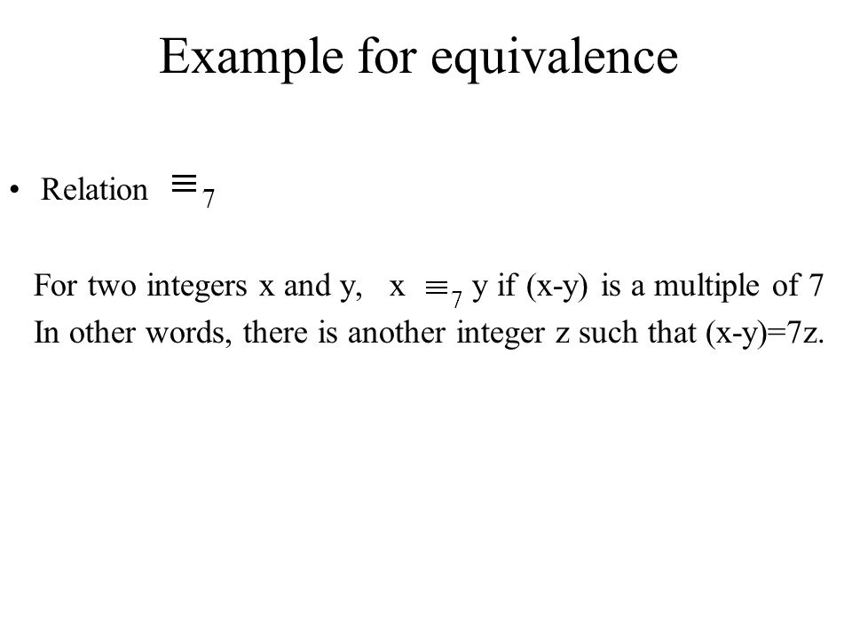 Example for equivalence